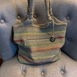 The Sak woven, multicolored shoulder bag